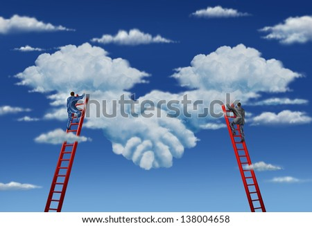 Agreement plan and business deal with a business group of two businessmen climbing ladders working together in partnership to shape clouds in the sky as a symbolic handshake. - stock photo