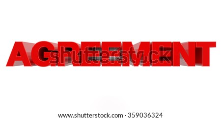 AGREEMENT word on white background 3d rendering - stock photo