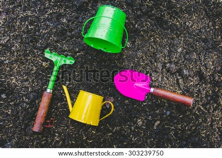 Agricultural equipment, with vibrant colors. - stock photo