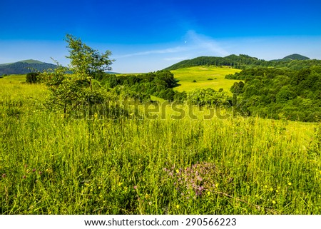 agricultural field on hillside in mountains near village