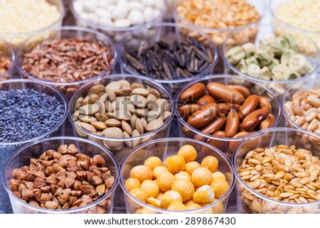 agricultural grains and legumes in the laboratory - stock photo