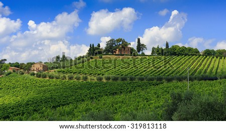 Agricultural landscape in Tuscany Italy - stock photo