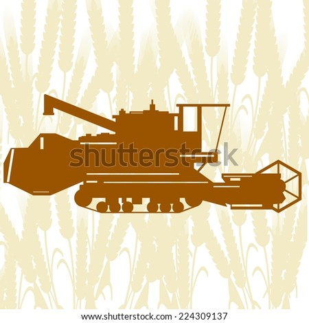 Agricultural machinery. Combine harvester on background of cereal ears.