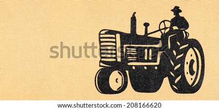 Agricultural machinery imprint symbol on a rugged burlap parchment.  - stock photo