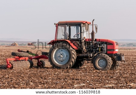 Agricultural machinery used for cultivation - stock photo