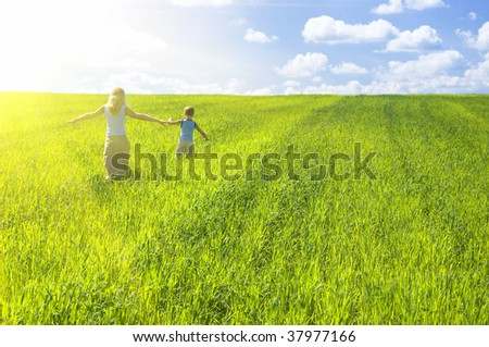 agricultural nature landscape with blue cloud sky and green grass - stock photo