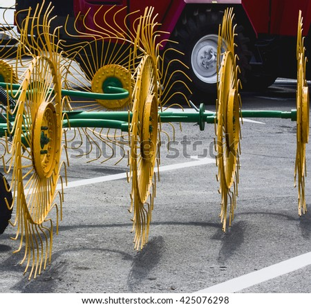 agricultural seeder machine design details  - stock photo