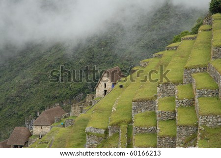 Agricultural terraces and small stone construction in  Peru