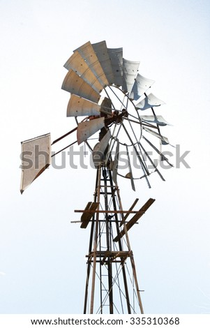 agricultural windpump isolated on white