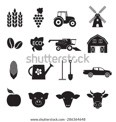 Agriculture and farming icon set. Black icons on white background. - stock photo