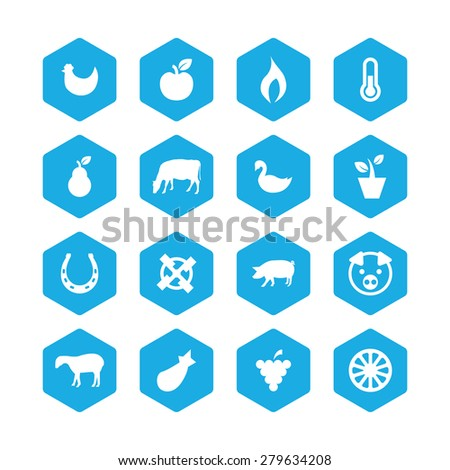 agriculture, farm icons universal set for web and mobile  - stock photo