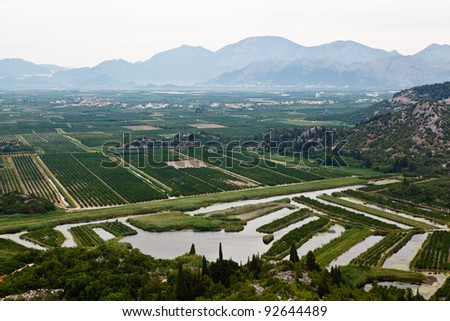 Agriculture in the Delta of River near Dubrovnik, Croatia