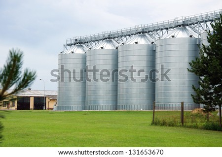 Agriculture industry, steel silo - stock photo