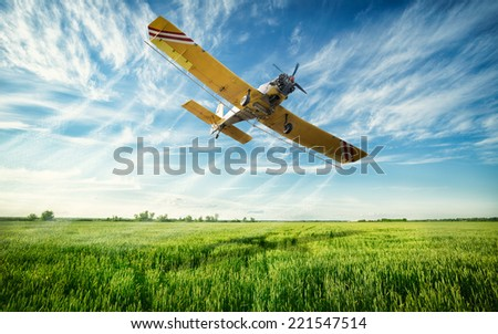 Agriculture, low flying yellow plane sprayed crops in the field - stock photo