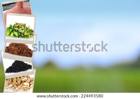 Agriculture mineral and fertilizer slide for Presentation background design - stock photo