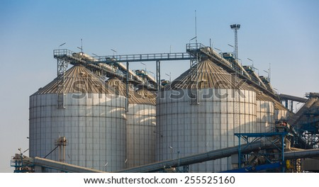 agriculture wheat rice silo - stock photo