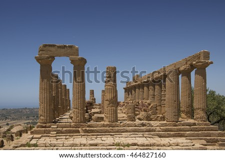 Agrigento, Italy - June 28, 2016: Valle Dei Templi is an archaeological site in Agrigento . It is one of the most outstanding examples of Greater Greece art and architecture.