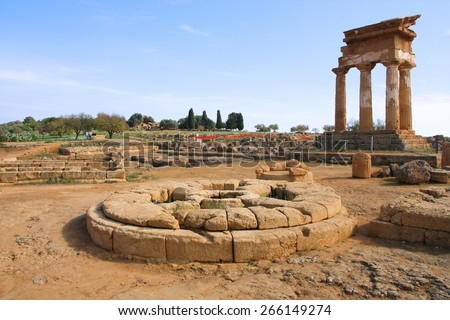 Agrigento, Italy. Old landmark Valle dei Templi, UNESCO World Heritage Site. Greek temple - remains of the Temple of Castor and Pollux. - stock photo