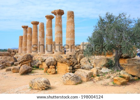 Agrigento, Sicily island in Italy. Famous Valle dei Templi, UNESCO World Heritage Site. Greek temple - remains of the Temple of Juno. - stock photo