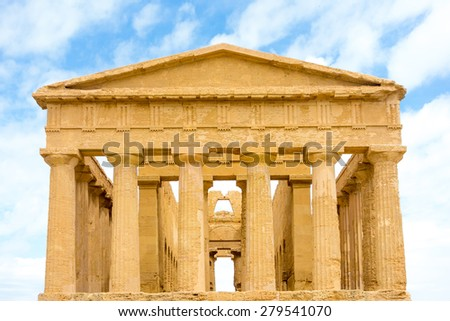 Agrigento, Sicily, Italy. Famous Valle dei Templi, UNESCO World Heritage Site. Greek temple - remains of the Temple of Concordia - stock photo