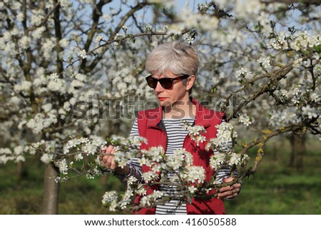 Agronomist or farmer examine blooming plum trees in orchard - stock photo