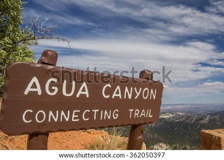 Agua Canyon sign in Bryce Canyon National Park, Utah, USA