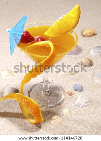 Agua de Valencia is a  Valencian cocktail made with orange juice, cava (champagne), vodka and gin. - stock photo