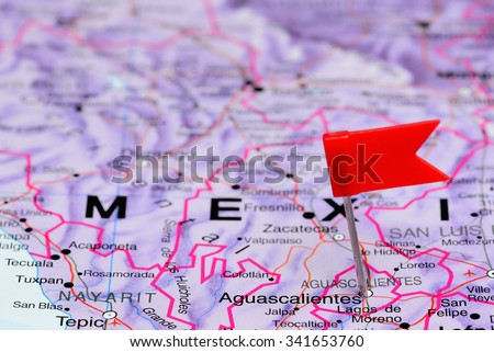 Aguascalientes pinned on a map of Mexico  - stock photo
