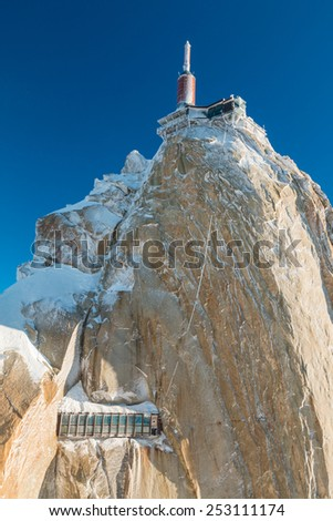 Aguille du Midi in Chamonix French Alps - stock photo