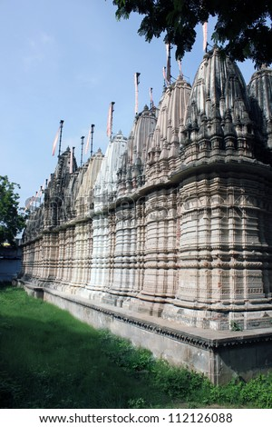 AHMEDABAD, GUJARAT, INDIA - AUGUST 21 : Hutheesing Jain Temple on August 21, 2012 in Ahmedabad. View from the back side. Built by Sheth Hatheesing Kesarising & Harkumvar Shethani  in 1847 A.D. - stock photo