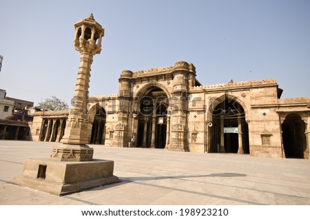 ahmedabad jama masjid mosque  - stock photo