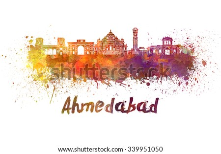 Ahmedabad skyline in watercolor splatters with clipping path - stock photo
