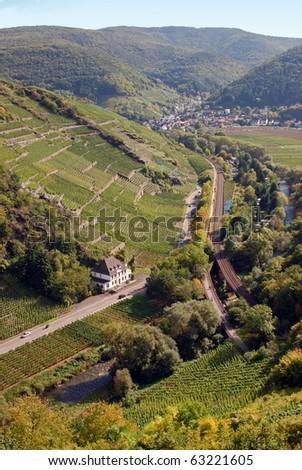 Ahrtal (Ahr Valley) vineyards near Rech - stock photo