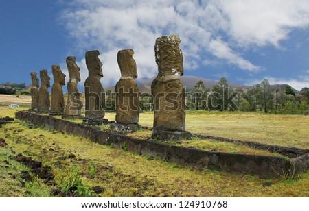 Ahu Akivi, the oldest Moai site on Easter Island - stock photo