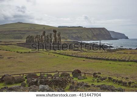 Ahu Tongariki. Ancient Moai statues on the coast of Rapa Nui (Easter Island) - stock photo