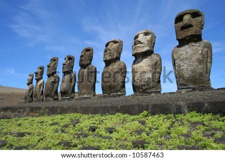 Ahu Tongariki on Easter Island - stock photo