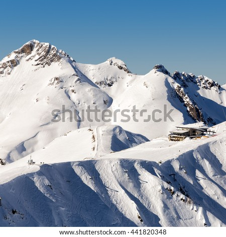 Aibga Ridge. Mountains near the ski resort of Rosa Khutor in Krasnaya Polyana. Sochi, Russia - stock photo
