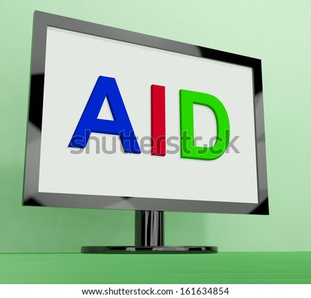 Aid On Monitor Showing Aiding Help Or Relief