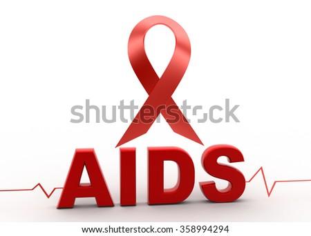 Aids awareness ribbon - stock photo