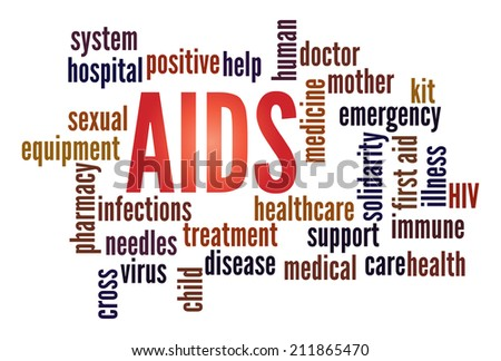 Aids  in word collage - stock photo
