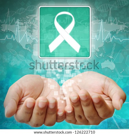 Aids ribbon symbol on hand ,medical background - stock photo