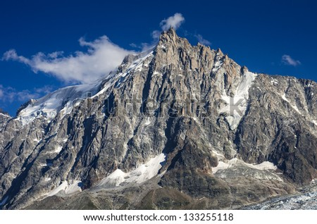 Aiguille du Midi (3842 m)in Mont Blanc massif. Chamonix, France. - stock photo