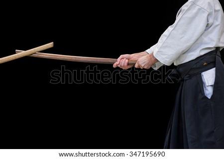 Aikido fighter during a public fight demonstration