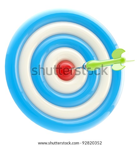 Aim and bull's-eye: dart thrown to the exact center isolated on white