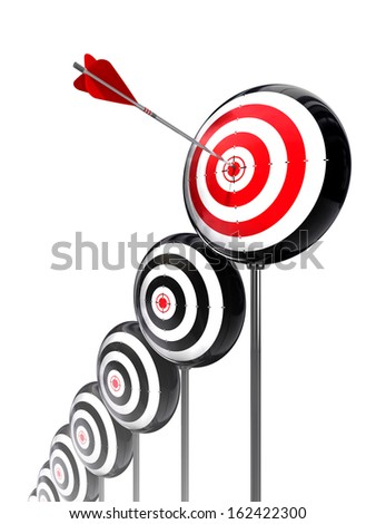 aim higher targets row on white background. clipping path included - stock photo