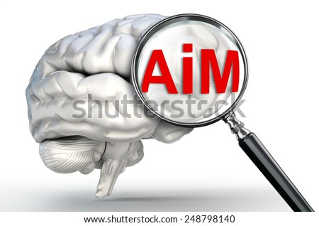 aim word on magnifying glass and human brain on white background - stock photo