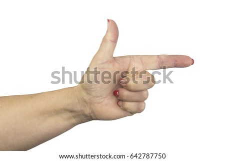 Aiming hand sign isolated on white background. Closeup of woman's hand with pointing finger.