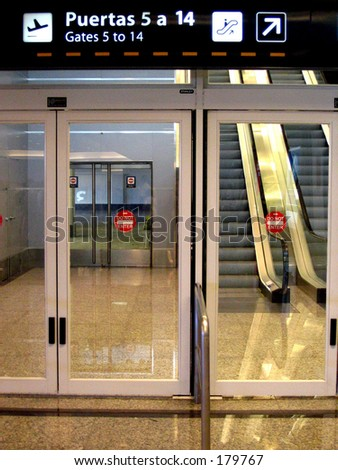 Aiport gate doors - stock photo