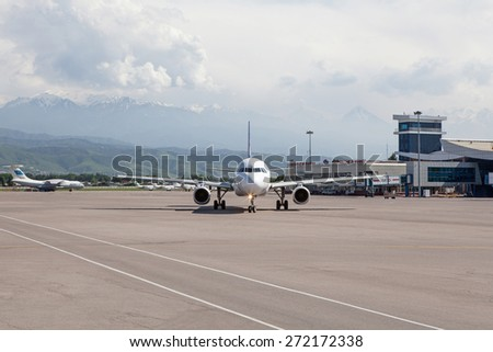 Air Astana Airbus 320 P4-XAS on the ground, Kazakhstan, Almaty International Airport, May, 28, 2011.