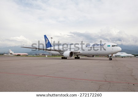 Air Astana Boeing 767-300ER P4-KCA on the ground, Kazakhstan, Almaty International Airport, May, 28, 2011.